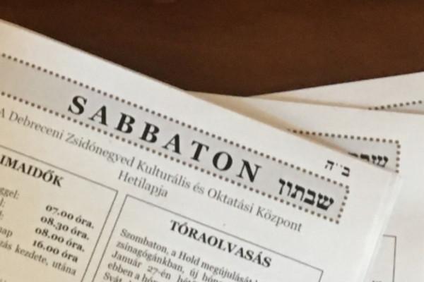 Sabbaton címmel új zsidó hetilap jelenik meg Debrecenben