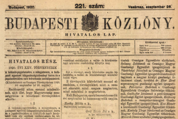"Numerus clausus a ""magyar faji géniusz"" megvédésére"