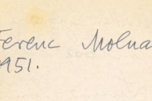 Molnár Ferenc aláírása a zsidó menekültek törzshelyén 1951-ből