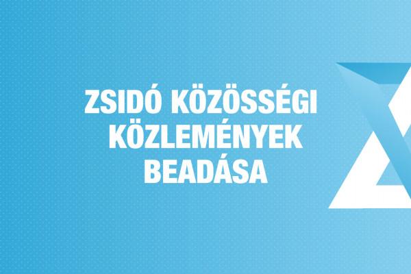 Zsidó Közösségi Közlemények (ZSKK) beadása