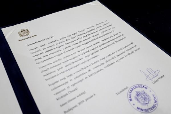 Levélben köszöntötte Korda Györgyöt 80. születésnapján a magyar miniszterelnök
